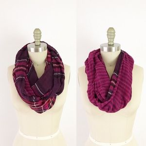 J Jill Purple Plaid Soft Reversible Infinity Scarf